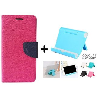 Mercury Goospery flip Cover For Reliance Lyf Flame 4  / Reliance  Flame 4  ( PINK ) With Multi Angle Mobile Phone Stand