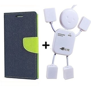 Mercury Goospery flip Cover For Micromax Bolt S302   / Micromax S302   ( BLUE ) With Usb Hub