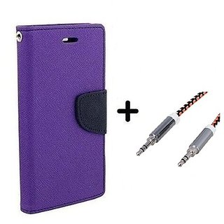 Mercury Goospery flip Cover For SAMSUNG Galaxy Note 5  / SAMSUNG Note 5  ( PURPLE ) With Aux Cable