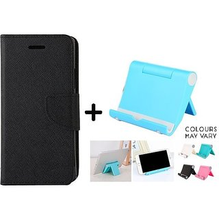Mercury Goospery flip Cover For Reliance Lyf Wind 6  / Reliance  Wind 6  ( BLACK ) With Multi Angle Mobile Phone Stand