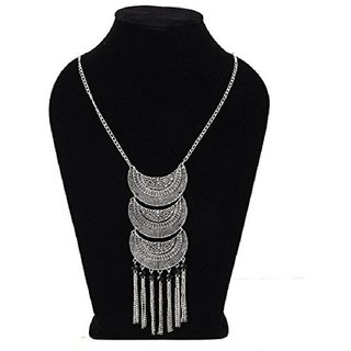 Minha  Turkish Style Vintage Oxidised German Silver Tribal Necklace Set for Women