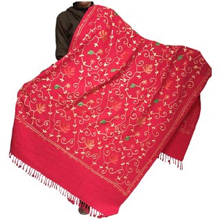 Varun Cloth House Womens Woollen Aari Zaal Kashmiri Embroided Shawl (vch5048, Pink, Free Size)