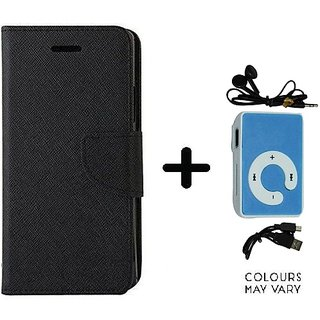 Mercury Goospery flip Cover For Micromax Canvas 2 A110  / Micromax A110  ( BLACK ) With Mini MP3 Player