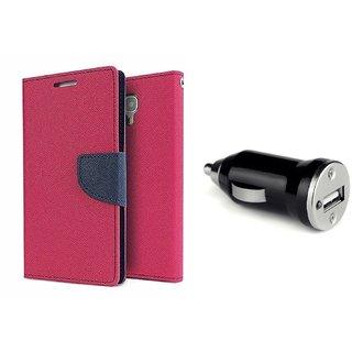 Mercury Goospery flip Cover For Nokia Lumia 630  / Nokia 630  ( PINK )  With CAR ADAPTER