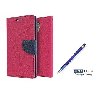 Mercury Goospery flip Cover For Samsung Galaxy J2  / Samsung J2  ( PINK )  With STYLUS PEN