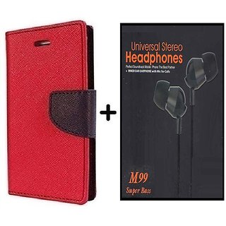 Mercury Goospery flip Cover For Samsung Galaxy J2  / Samsung J2  ( RED ) With Earphone(BLK60A)