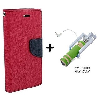 Mercury Goospery flip Cover For Samsung Galaxy J2  / Samsung J2  ( PINK ) With Mini Selfie Stick(Color May Vary)