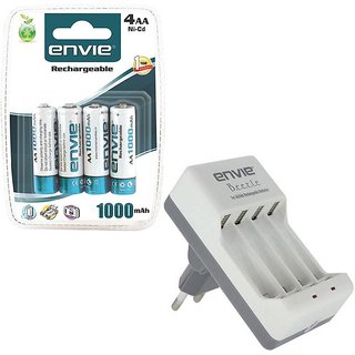 ENVIE 4XAA 1000mAh Ni-CD AA Rechargeable Battery Cell + AA / AAA Charger