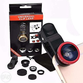 Fleejost Universal 3 in 1 Cell Phone Camera Lens Kit - Fish Eye Lens / 2 in 1 Macro Lens  Wide Angle Lens/Universal Cl