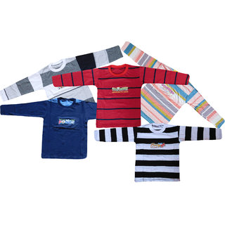 Jisha Multicolor Full Sleeves T-Shirt Pack of 5