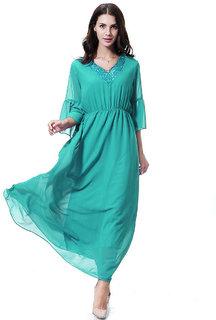 Cyan V Neck Bell Sleeves Net Women Maxi Dress