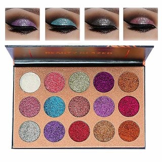 Beauty Glazed Ultra Pigmented Mineral Pressed Glitter Waterproof Make Up Eye Shadow Powder Flash Colours Palette (15 Col