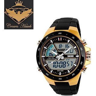 Crown hawk 1016-Gold Skmei sports Analog-Digital Watch - For Men Women