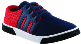 Armado Blue Red Canvas PVC Smart Casual Lace-up Shoes For Men