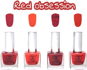 LipsTips Premium Collection Nail polish - Combo set of 4 Exclusive Nail Enamels - Jam Red, Smokin' Red, Sparkling Red, Classic Red ( Pack of 4 )