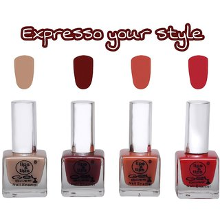LipsTips Premium Collection Nail polish - Combo set of 4 Exclusive Nail Enamels - Sparkling Red, Aqua Shimmer, Pink Glitz, Starry Night ( Pack of 4 )