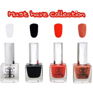 LipsTips Premium Collection Nail polish - Combo set of 4 Exclusive Nail Enamels - Base Coat, Black, Fire Red, Chocolate Moose ( Pack of 4 )
