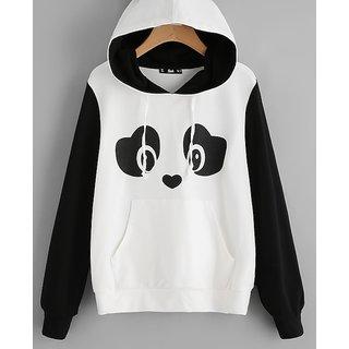 Code Yellow Women's Panda Print Pom Pom Detail Hoodie Sweatshirt
