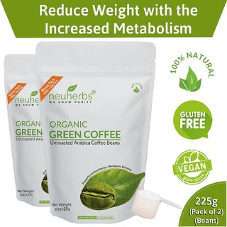 Neuherbs Organic Green Coffee Beans for Weight Loss - 225g (Pack of 2)