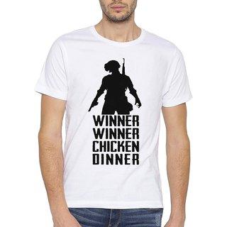 PUBG Winner Winner Chicken Dinner  Printed   Trendy  Round / Crew Neck Men's White Printed T-Shirt