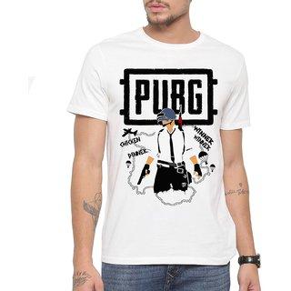 539426944 PUBG Winner Winner Chicken Dinner Printed Trendy Round / Crew Neck Men's  White Printed T-Shirt