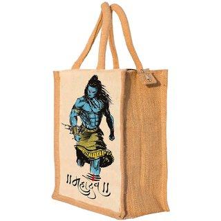 Nisol Angry Mahadev Shiva Classic Printed Lunch Bag    Tote     Hand Bag     Travel Bag    Gift Bag   Jute Bag