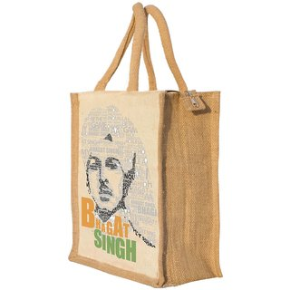 Nisol Bhagat Singh Conversational Portrait Classic Printed Lunch Bag | Tote | Hand Bag | Travel Bag | Gift Bag | Jute Bag