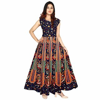 Uniqchoice Women's Jaipuri Traditional Multicolor Printed Dress (Fits to bust size 36 to 42)