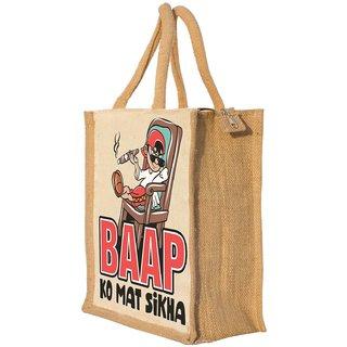 Nisol Baap Ko Mat Sikha Classic Printed Lunch Bag   Tote   Hand Bag   Travel Bag   Gift Bag   Jute Bag