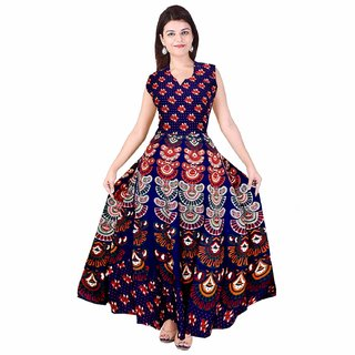 Uniqchoice Women's Jaipuri Traditional Multicolor Cotton Printed Multicolor A Line Dress