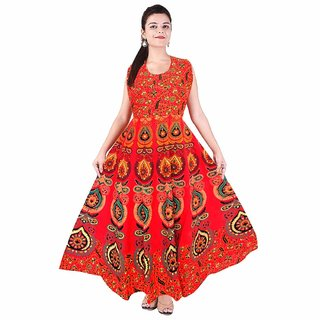 Uniqchoice Women's Jaipuri Traditional Multicolor Printed Dress