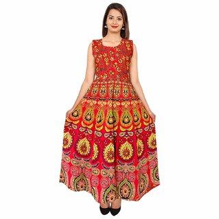 Uniqchoice Women's Jaipuri Traditional Multicolor Printed Dress