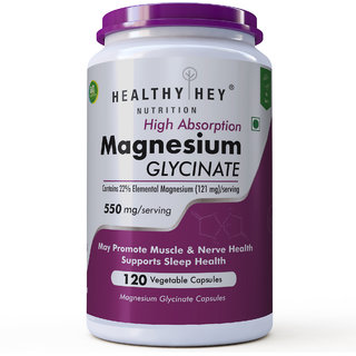 HealthyHey Nutrition High Absorption Magnesium Glycinate, 400mg, 120 Vegetable Capsules