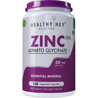 HealthyHey Nutrition Zinc Glycinate Essential Trace Mineral, 30mg, 120 Vegetable Capsules
