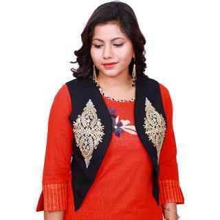 Lili Women Sleeveless Embroidery Work Shrug