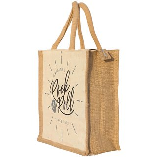 Nisol Rock n Roll Classic Printed Lunch Bag | Tote | Hand Bag | Travel Bag | Gift Bag | Jute Bag