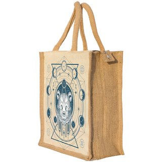 Nisol Technical Bear Classic Printed Lunch Bag | Tote | Hand Bag | Travel Bag | Gift Bag | Jute Bag