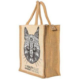 Nisol Artistic Cat Classic Printed Lunch Bag   Tote   Hand Bag   Travel Bag   Gift Bag   Jute Bag