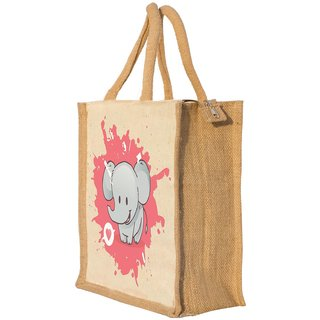 Nisol Cute Elephant Classic Printed Lunch Bag | Tote | Hand Bag | Travel Bag | Gift Bag | Jute Bag