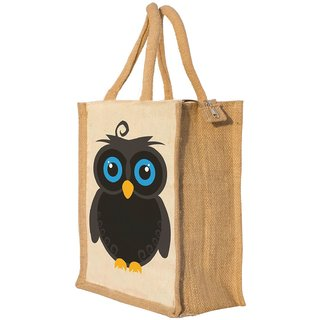 Nisol Owl Classic Printed Lunch Bag | Tote | Hand Bag | Travel Bag | Gift Bag | Jute Bag