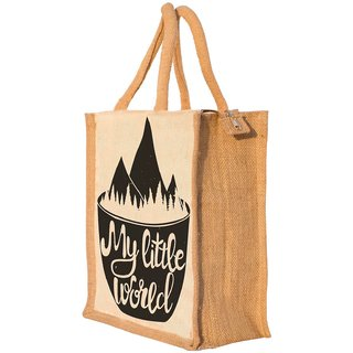 Nisol My Little World Coffee Classic Printed Lunch Bag | Tote | Hand Bag | Travel Bag | Gift Bag | Jute Bag