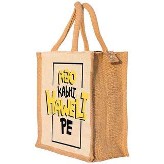 Nisol Aao Kabhi Haveli Pe Classic Printed Lunch Bag   Tote   Hand Bag   Travel Bag   Gift Bag   Jute Bag