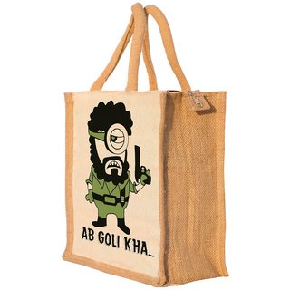 Nisol Ab Goli Khaa Gabbar Classic Printed Lunch Bag   Tote   Hand Bag   Travel Bag   Gift Bag   Jute Bag