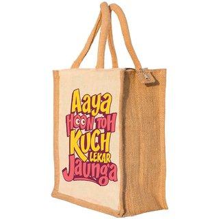 Nisol Aaya Hun Lekar Jaunga Classic Printed Lunch Bag   Tote   Hand Bag   Travel Bag   Gift Bag   Jute Bag