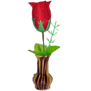 Valentine Special Red Rose Artificial Flower with Pot / Flower Vase Best Valentine's Gift for Christmas Home Decor