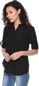 PURYS black roll up sleeve tab top