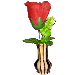 Valentine Special Red Rose Artificial Flower with Pot / Flower Vase Best Valentines Gift for Christmas Home Decor