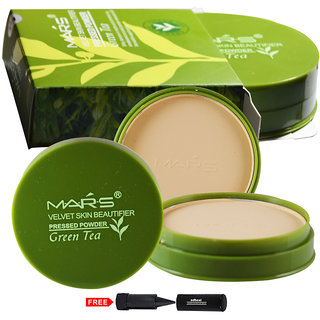 Mars Green Tea Compact Powder 9500-02 With Free Adbeni Kajal