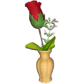 Valentine Special Red Rose Artificial Flower with Pot/Flower Vase Best Valentines Gift for Christmas Home Decor