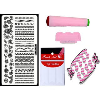 Royalkart Nail Art Kit With 1 Stamping Image Plate(XY-COCO12) Stamper Scraper Finger Tip Guide and Finger Rest